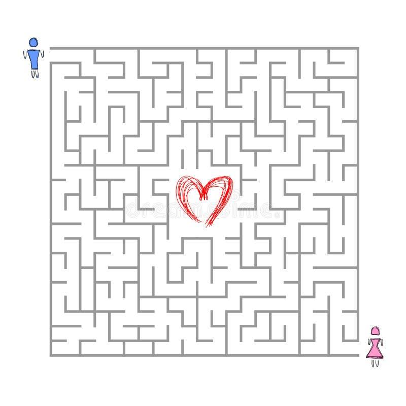 Het zoeken van liefde in labyrint royalty-vrije illustratie