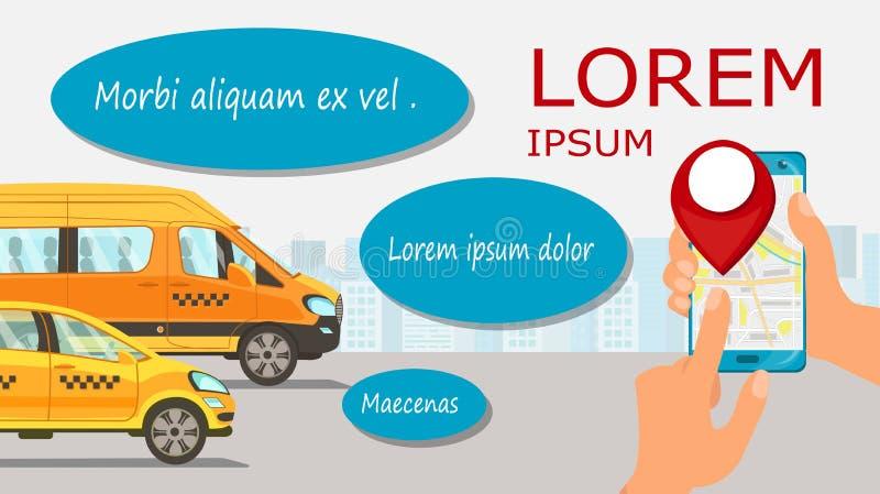 Het zoeken van het Malplaatje van Taxi Driverflat web banner royalty-vrije illustratie