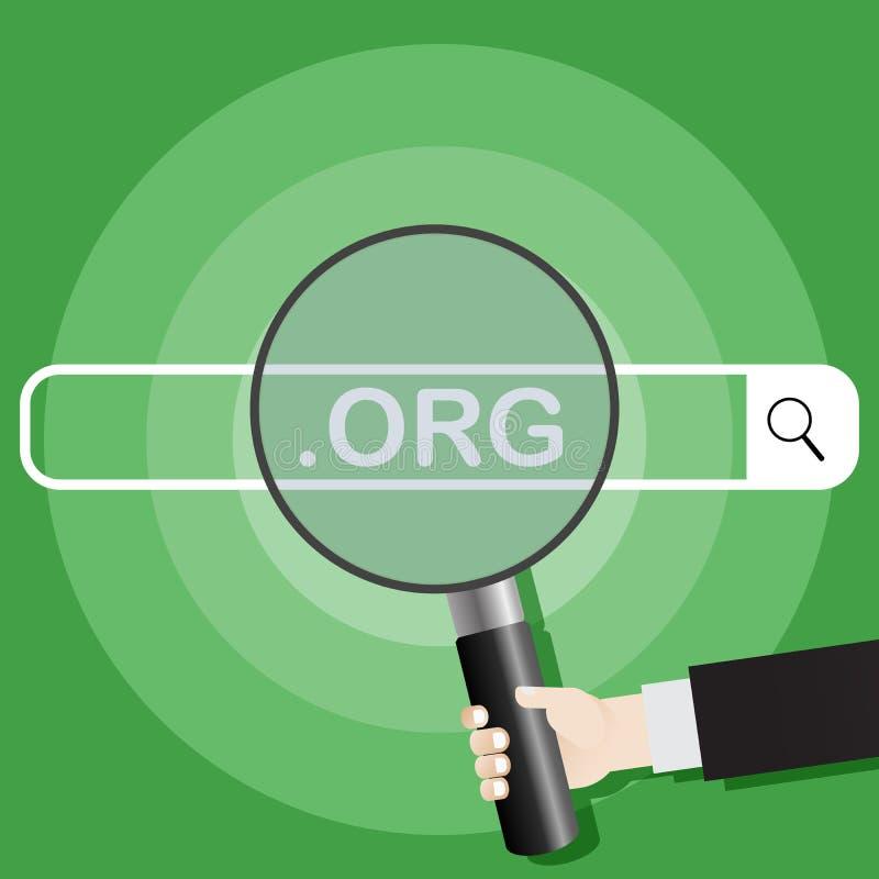 het zoeken van systeem Beeld van een hand die een vergrootglas op de zoekmachine houden org Vector illustratie stock illustratie