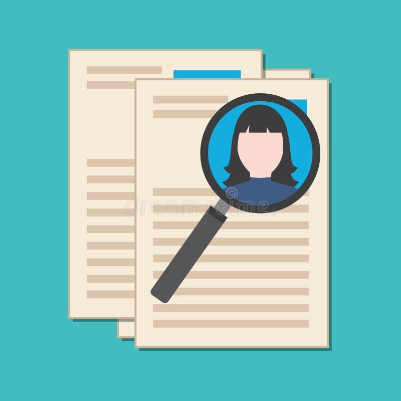 Het zoekend deskundigen, hervat analyseren, conc rekrutering vector illustratie