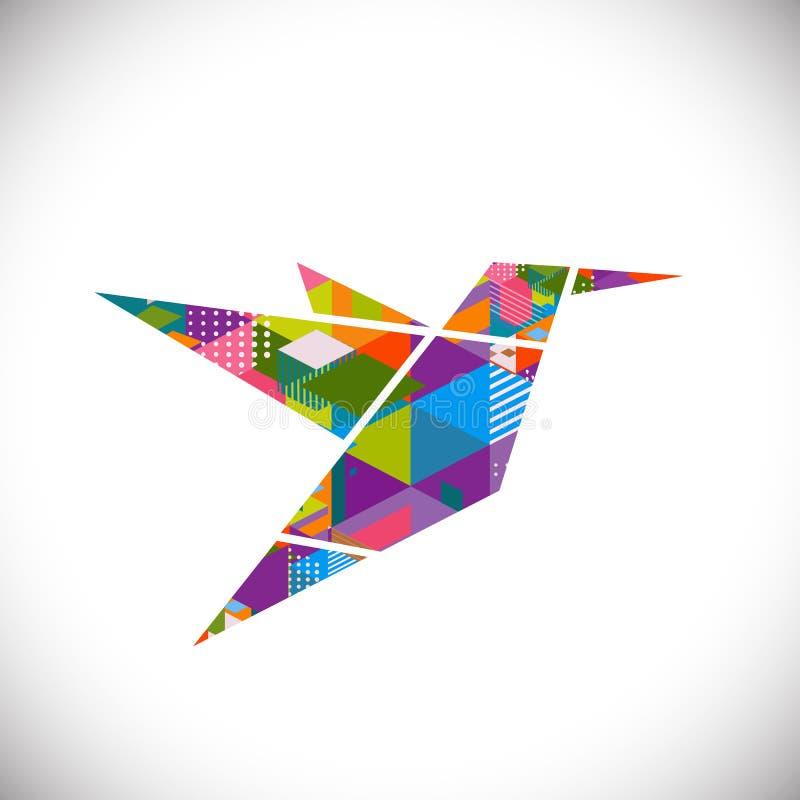 Het zoemende vogelsymbool met kleurrijk geometrisch grafisch concept isoleerde witte achtergrond, vector & illustratie royalty-vrije illustratie