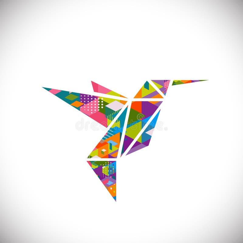 Het zoemende vogelsymbool met kleurrijke geometrische grafisch in driehoeksconcept isoleerde witte achtergrond, vector & illustra royalty-vrije illustratie