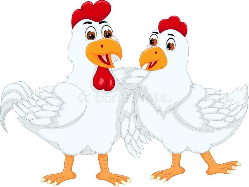 Het zoete beeldverhaal die van het kippenpaar zich met het koesteren bevinden stock illustratie