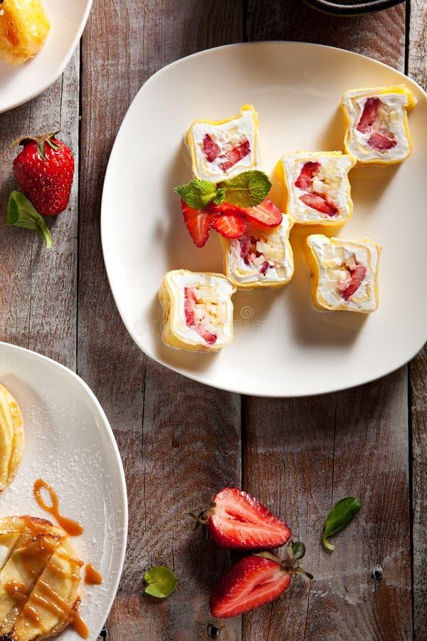 Het zoete Broodje van de Sushi van het Fruit royalty-vrije stock foto