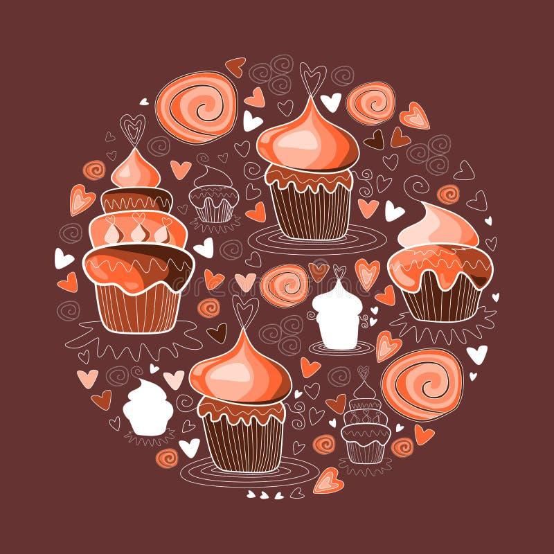 Het zoete cijfer van de cupcakescirkel vector illustratie