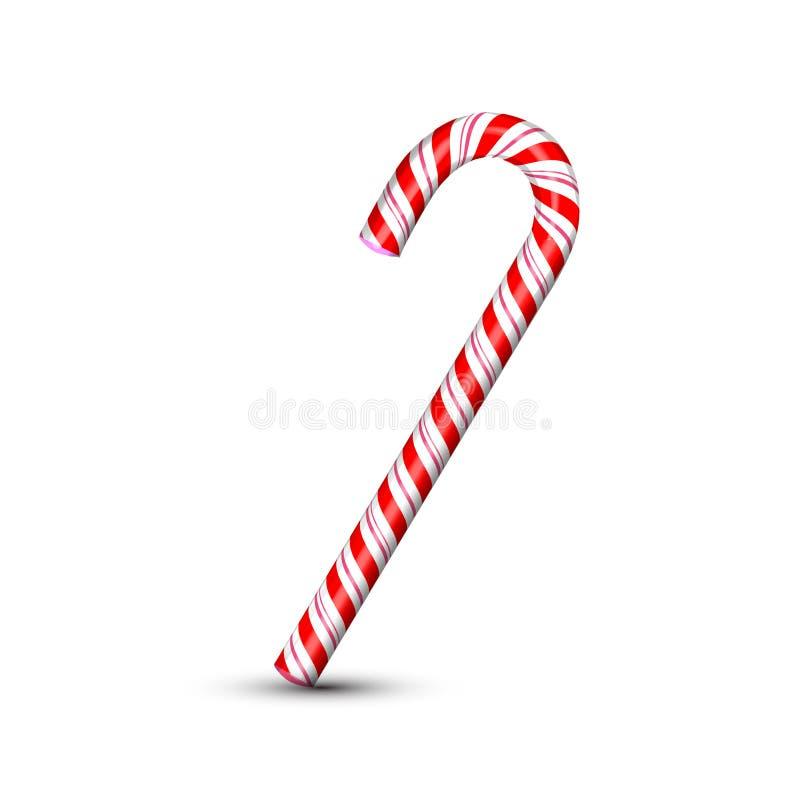Het zoete die riet van het Kerstmissuikergoed op witte achtergrond wordt geïsoleerd Grafisch element voor groetkaart op Nieuwjaar stock illustratie