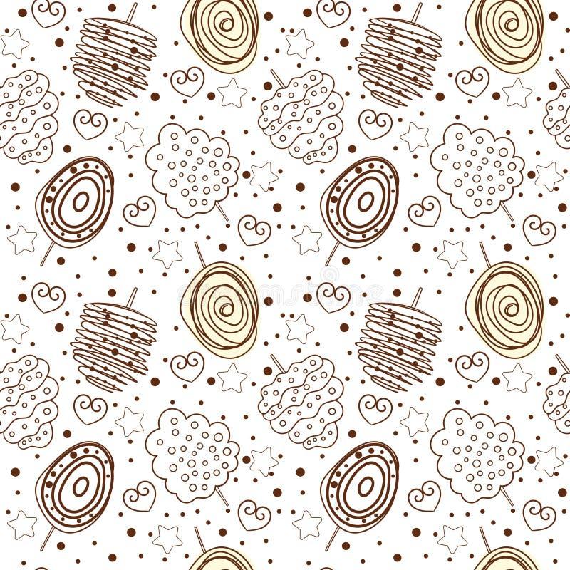 Het zoete katoen die van de lijnkunst patroon herhalen stock illustratie