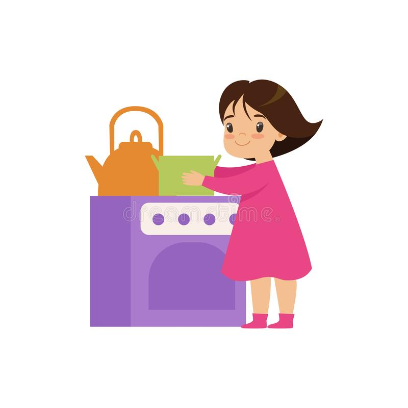 Het zoete meisje spelen met stuk speelgoed de vectorillustratie van de keukenoven op een witte achtergrond royalty-vrije illustratie