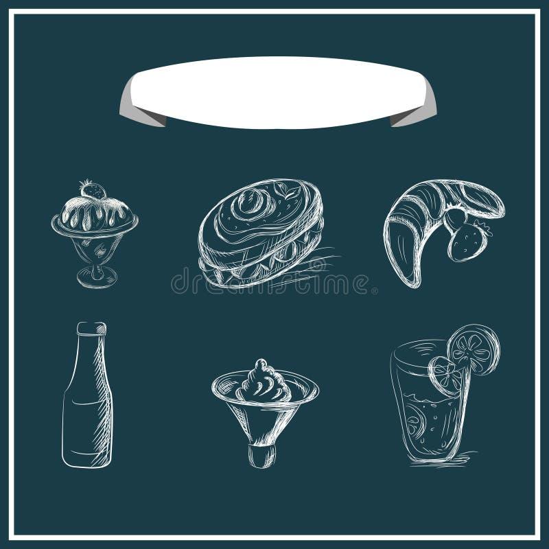 Het zoete menu chalked op een bord Vector ontwerp royalty-vrije illustratie