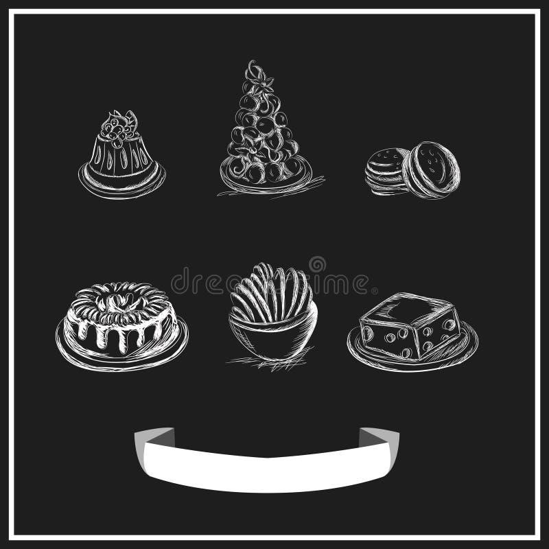 Het zoete menu chalked op een bord Vector ontwerp vector illustratie
