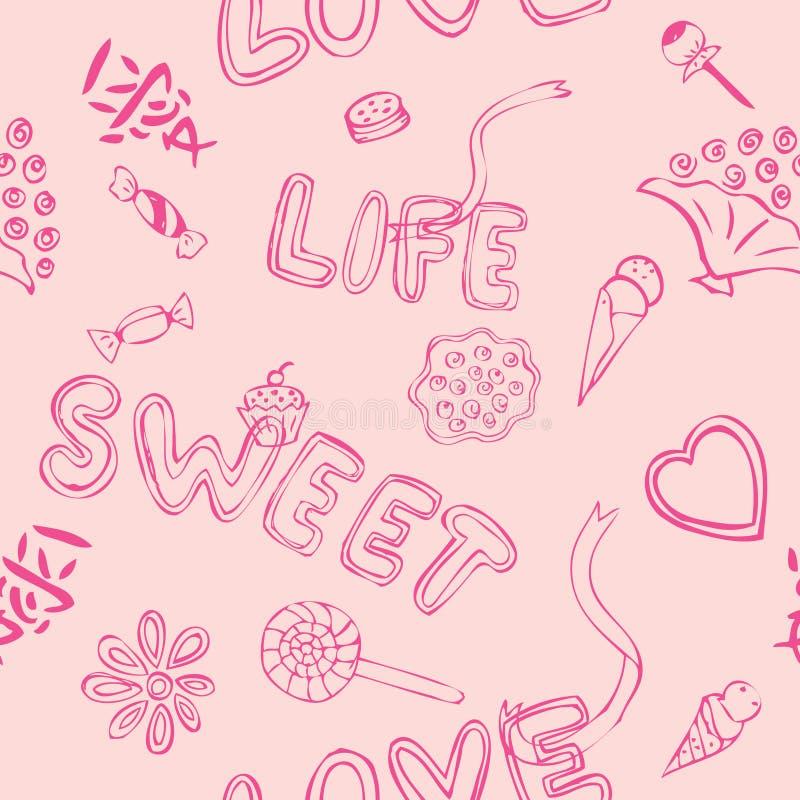 Het Zoete Patroon van de liefde vector illustratie