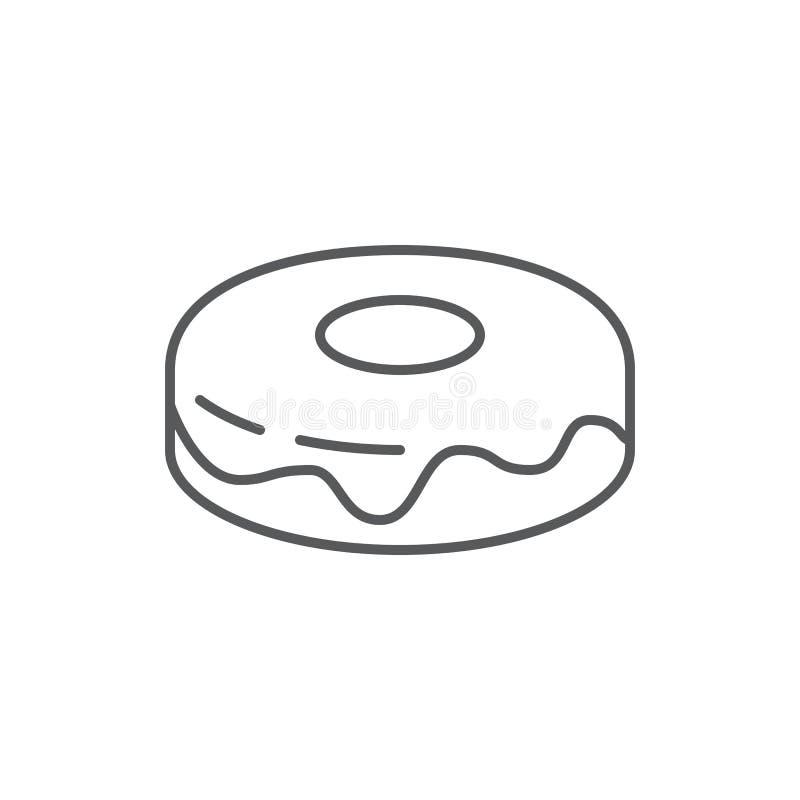 Het zoete pictogram van het doughnut editable overzicht - pixel perfect symbool van gebakken dessert met berijpen geïsoleerd op w stock illustratie