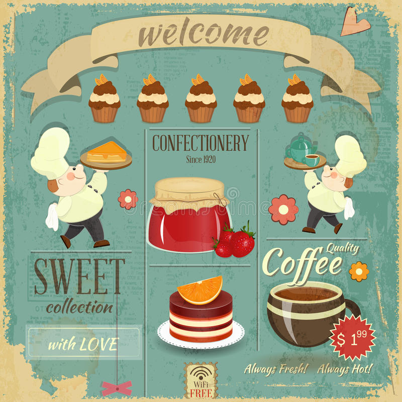 Het zoete Retro Ontwerp van het Menu van de Koffie royalty-vrije illustratie
