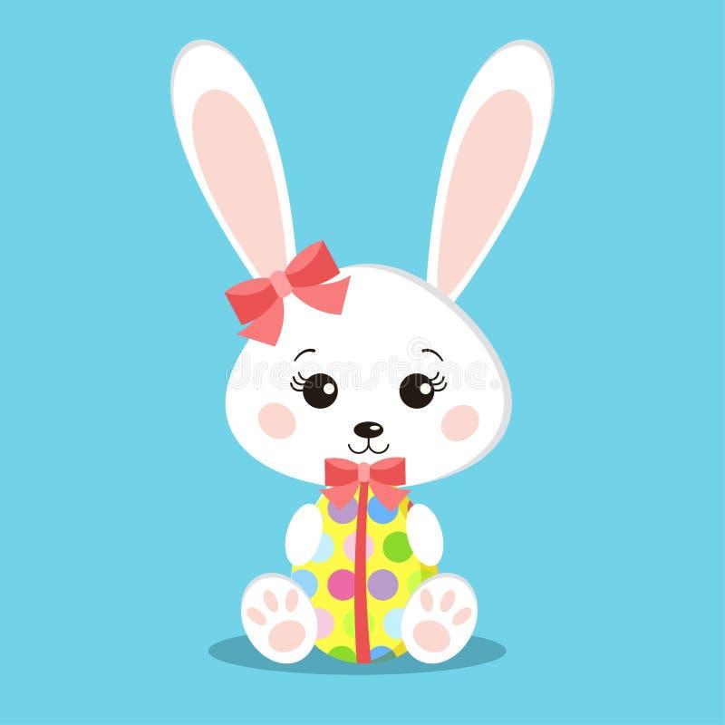 Het zoete witte Pasen-ei van de de holdingsgift van het konijnenmeisje royalty-vrije illustratie