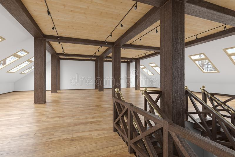 Het zolder lege binnenland van de zolderopen plek met stralen, vensters, trap, houten vloer vector illustratie