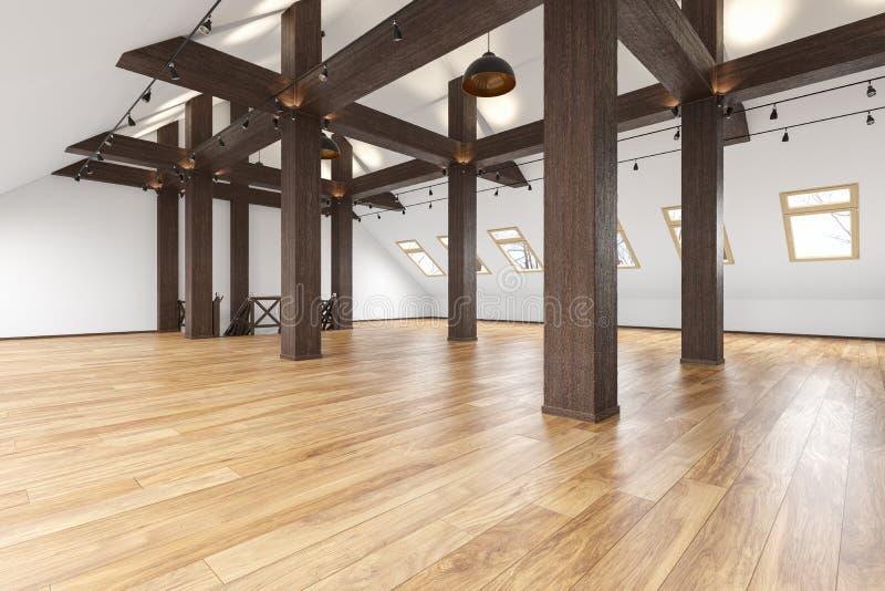 Het zolder lege binnenland van de zolderopen plek met stralen, vensters, trap, houten vloer royalty-vrije illustratie