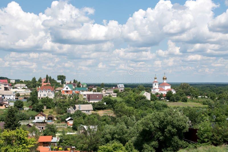 Het zomerlandschap en het russische dorp royalty-vrije stock foto