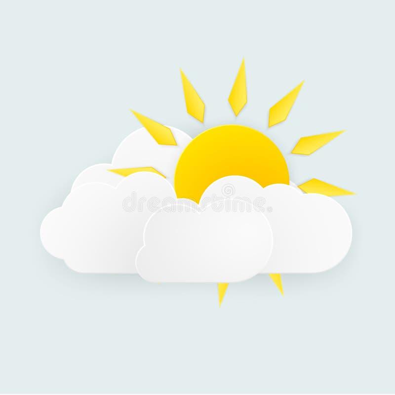 Het zon en wolkenweer over witte achtergrond Vector illustratie stock illustratie