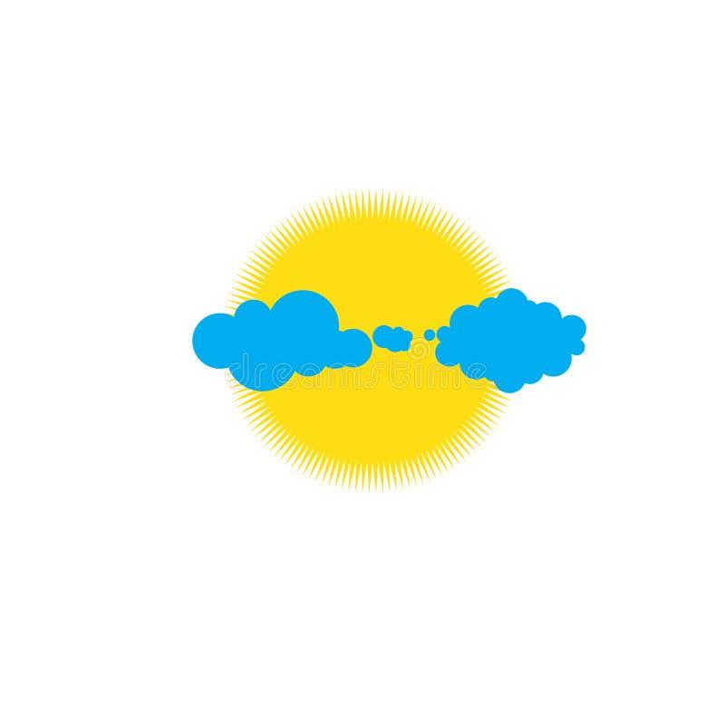 Het zonne vectorwerk achter de wolk in de hemel royalty-vrije illustratie