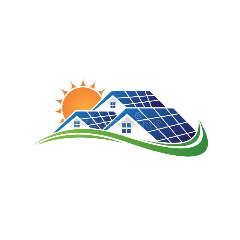 Het zonnehuis en de zon bewaren energiemacht en natuurlijke elektriciteit zonnebatterij stock illustratie