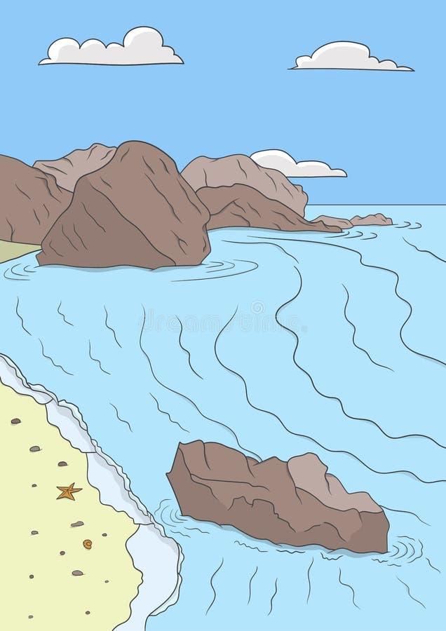 het zonnen op strand vector illustratie