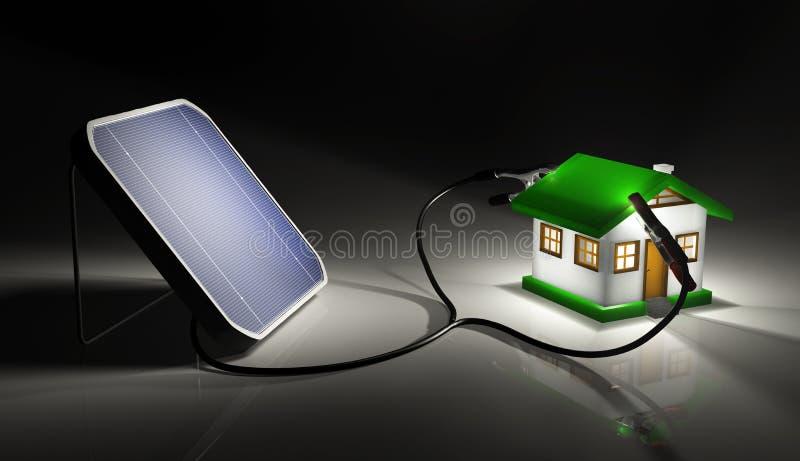 Het zonnepaneel laadt een plattelandshuisje vector illustratie