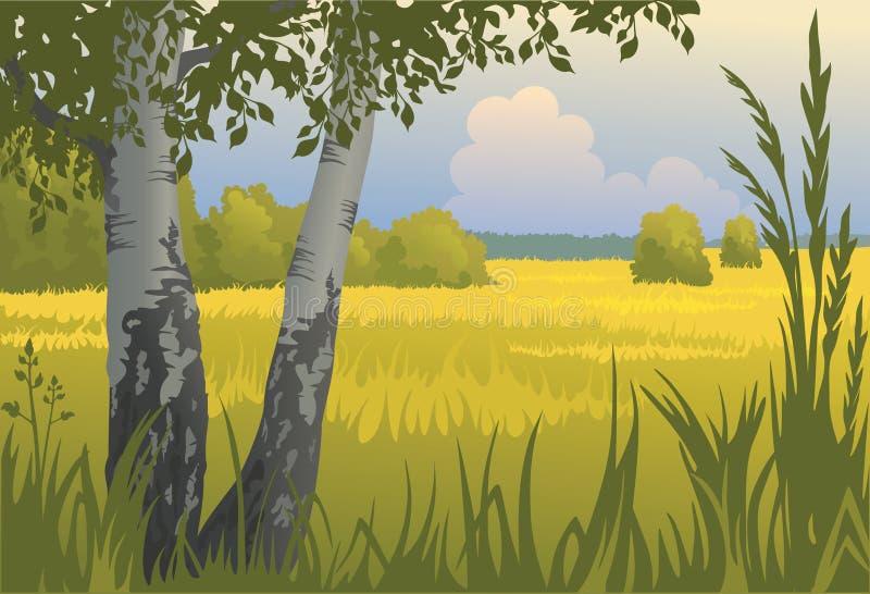 Het zonnige landschap van de zomer stock illustratie