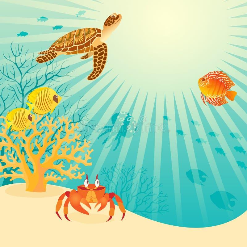 Het zonnige onderwaterleven vector illustratie