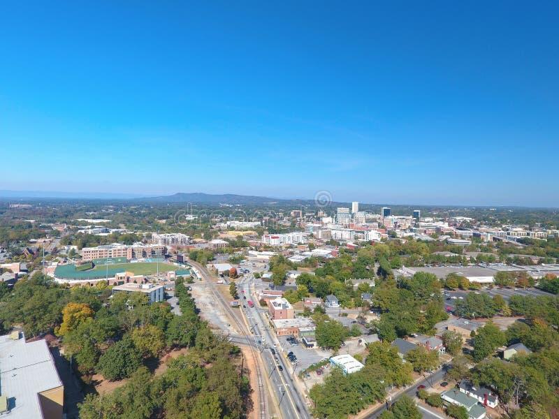 Het Zuiden Carolina Skyline Aerial van Greenville stock foto's