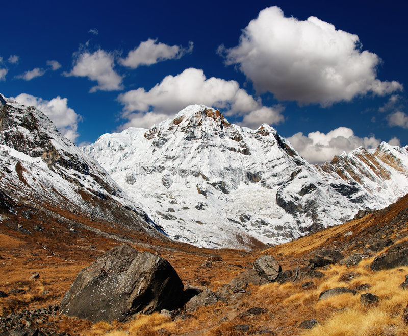 Het Zuiden van Annapurna, Himalayagebergte, Nepal stock afbeeldingen