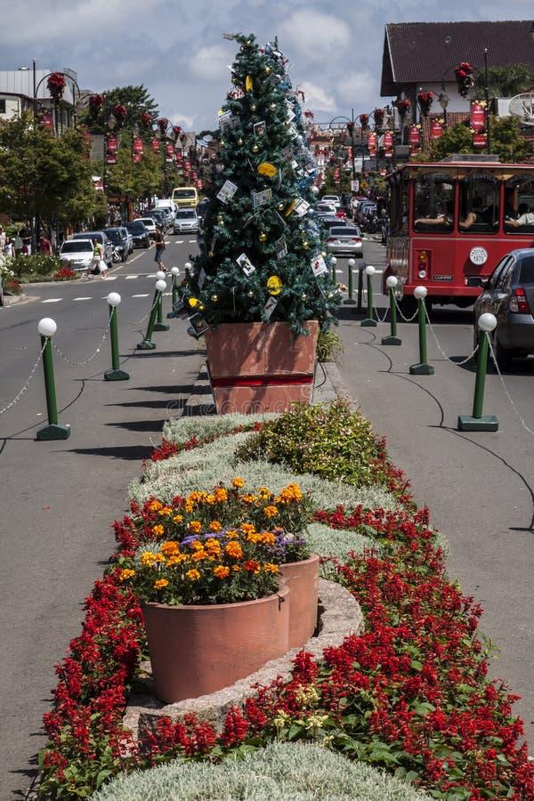Het Zuiden van de Kerstboom van Gramado van Brazilië stock afbeelding
