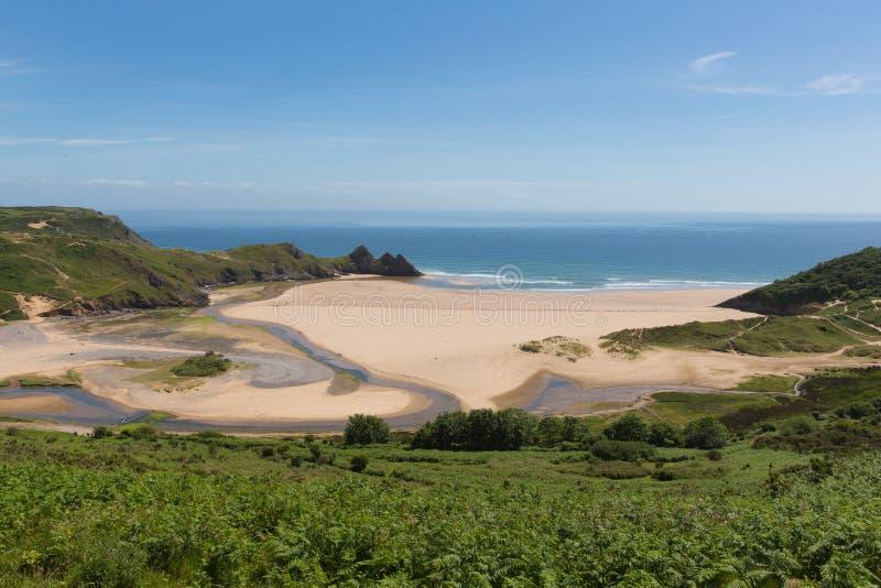 Het zuidenkust van de drie Klippenbaai Gower Peninsula Swansea Wales het UK stock afbeelding