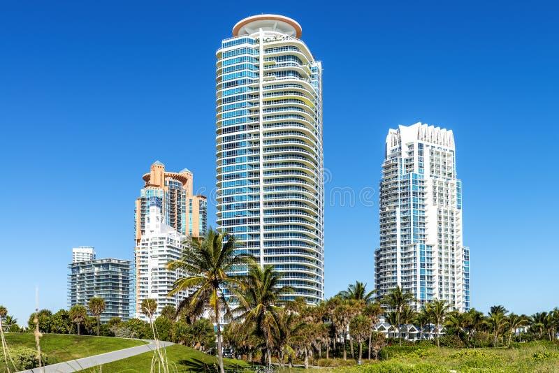 Het Zuidenstrand van Miami stock afbeeldingen