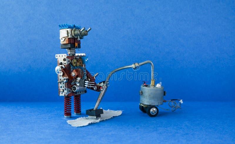Het zuigende tapijt van de robotportier Schoner robotachtig het stuk speelgoed van het machine creatief ontwerp schoonmakend huis royalty-vrije stock afbeelding