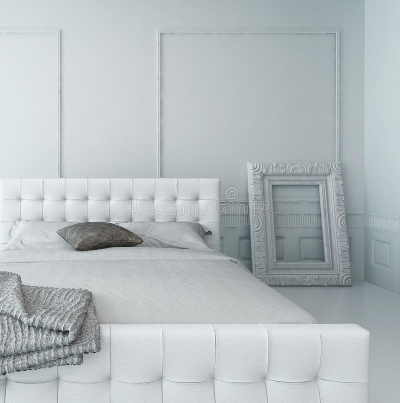 Het zuivere witte binnenland van de luxeslaapkamer royalty-vrije illustratie