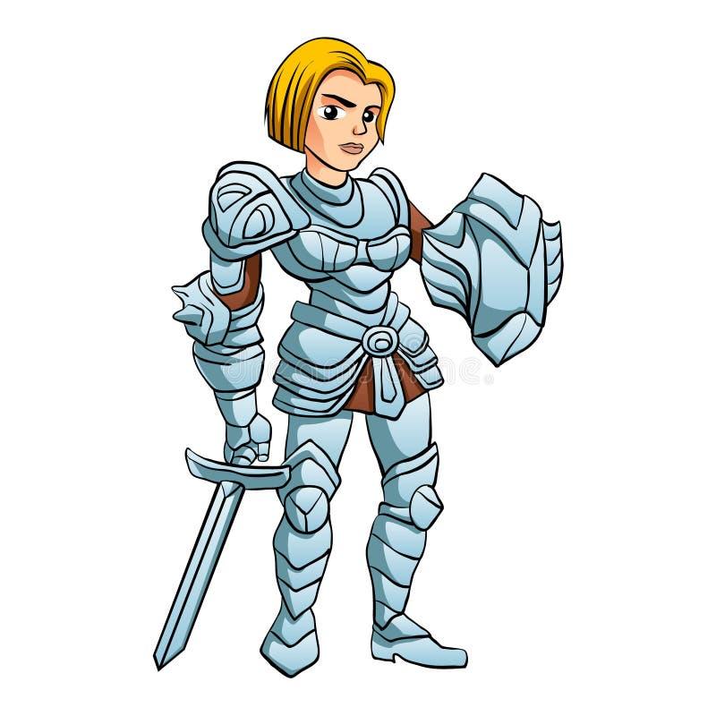 Het zwaard en het Schild van With Battle van de strijdersprinses vector illustratie