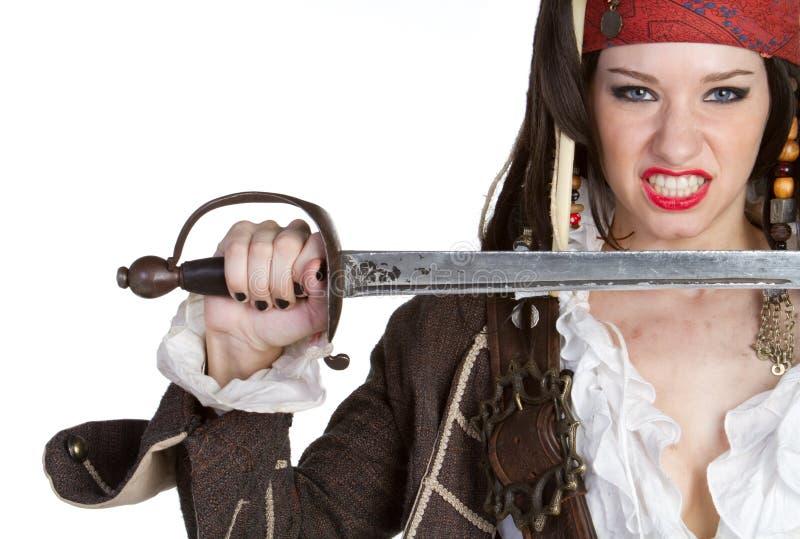 Het Zwaard van de Holding van de piraat royalty-vrije stock fotografie