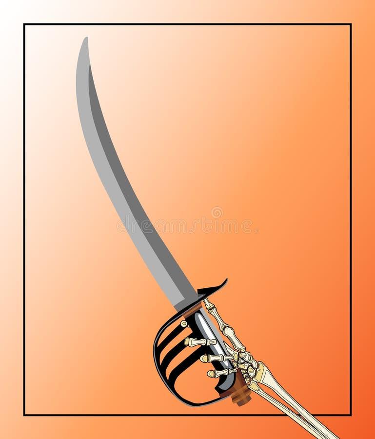 Het Zwaard van de piraat dat door de Hand van het Skelet wordt gehanteerd royalty-vrije illustratie