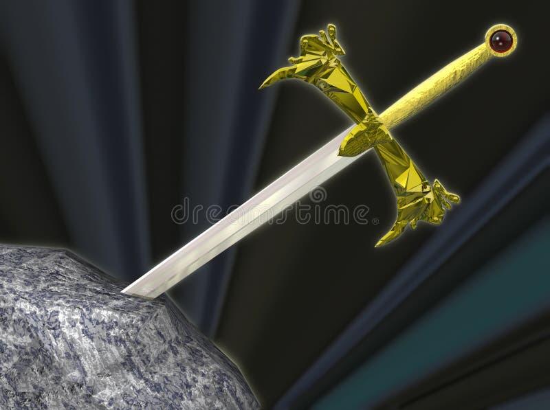 Het zwaard van Thw in de steen royalty-vrije illustratie