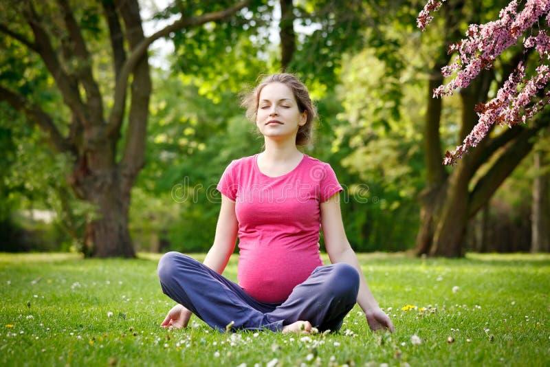 Het zwangere vrouw ontspannen in het de lentepark stock afbeeldingen