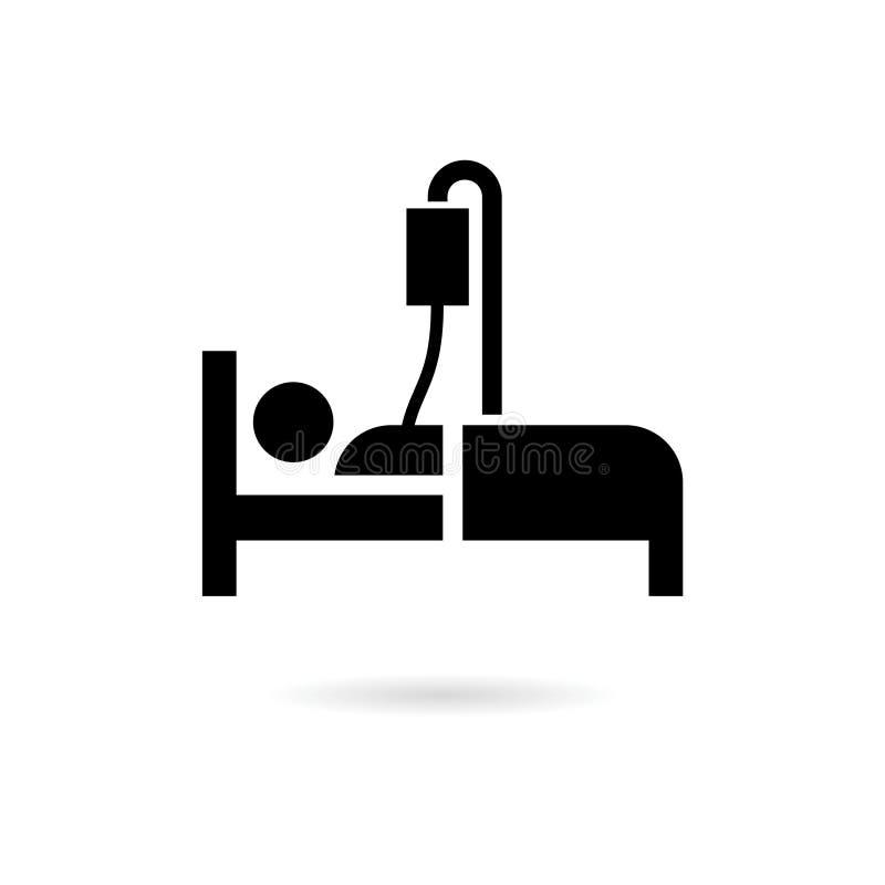 Het zwart pictogram van het het Ziekenhuisbed of embleem, van de het symboolslaap van het bedpictogram het motel van het de nacht stock illustratie
