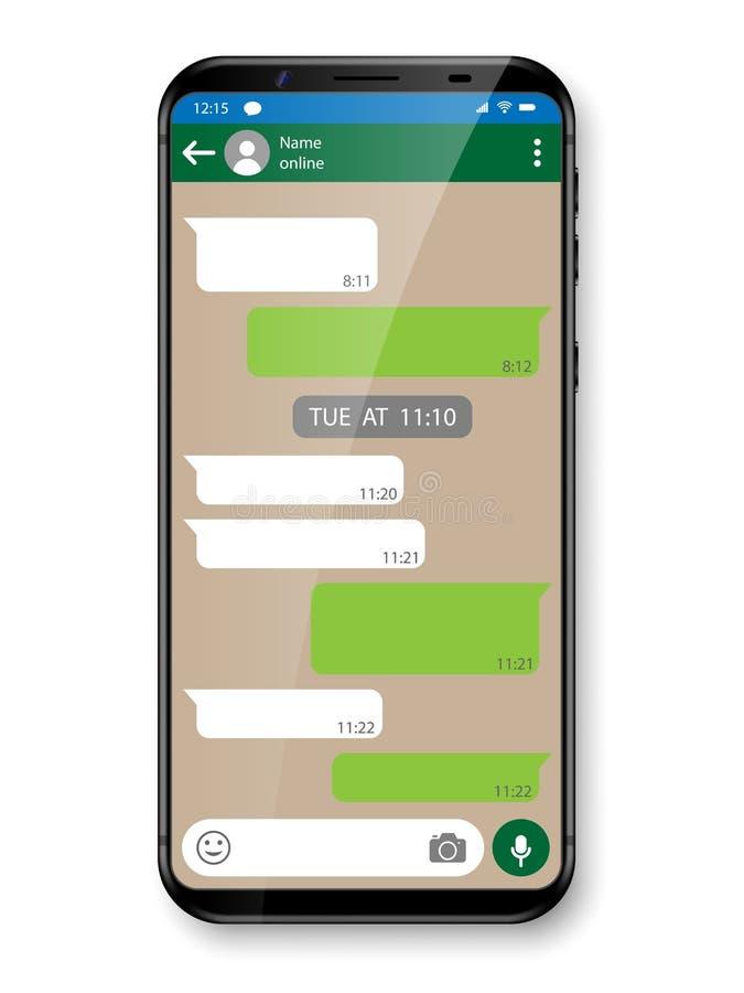 Het zwart realistisch Smartphone-babbelen of overseinen app Sociaal netwerkconcept Mobiele telefoon met Boodschappersvenster Vect vector illustratie
