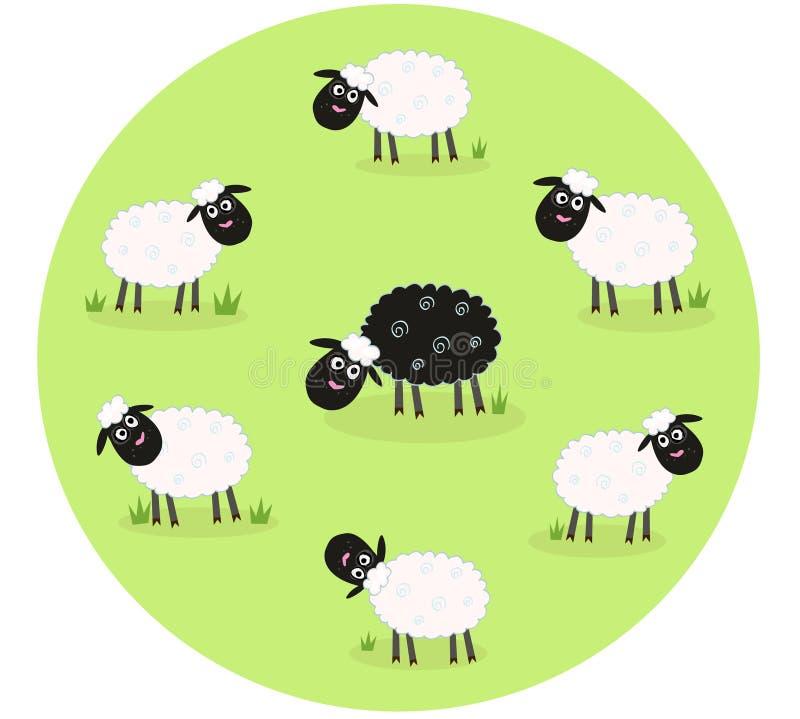 Het zwart schaap is eenzaam in het midden van witte schapen stock illustratie