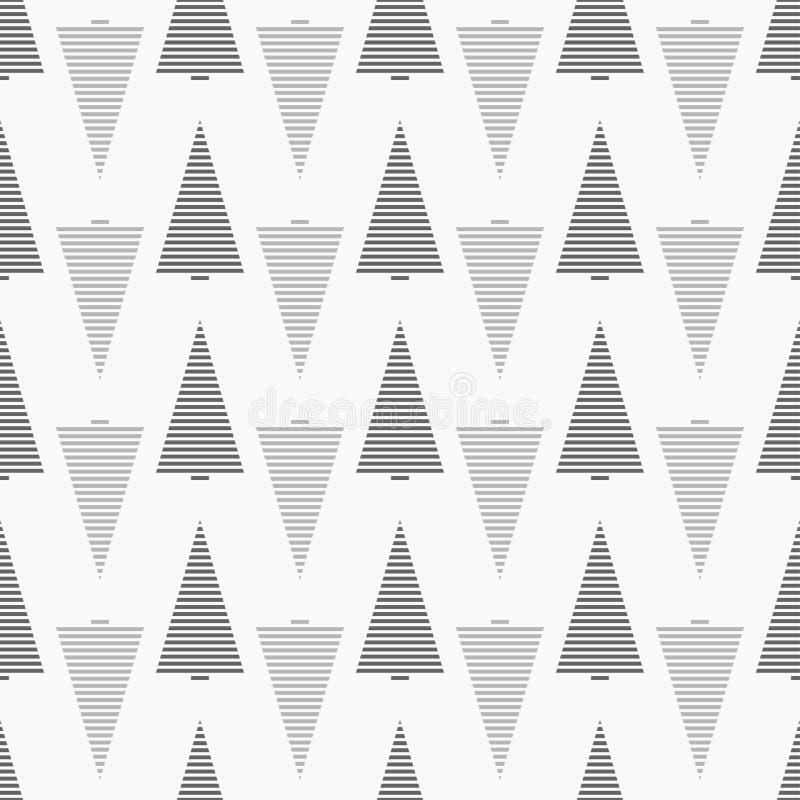 Het zwart-wit naadloze patroon van de Kerstmisboom met gestreepte grijze gekleurde sparren vector illustratie