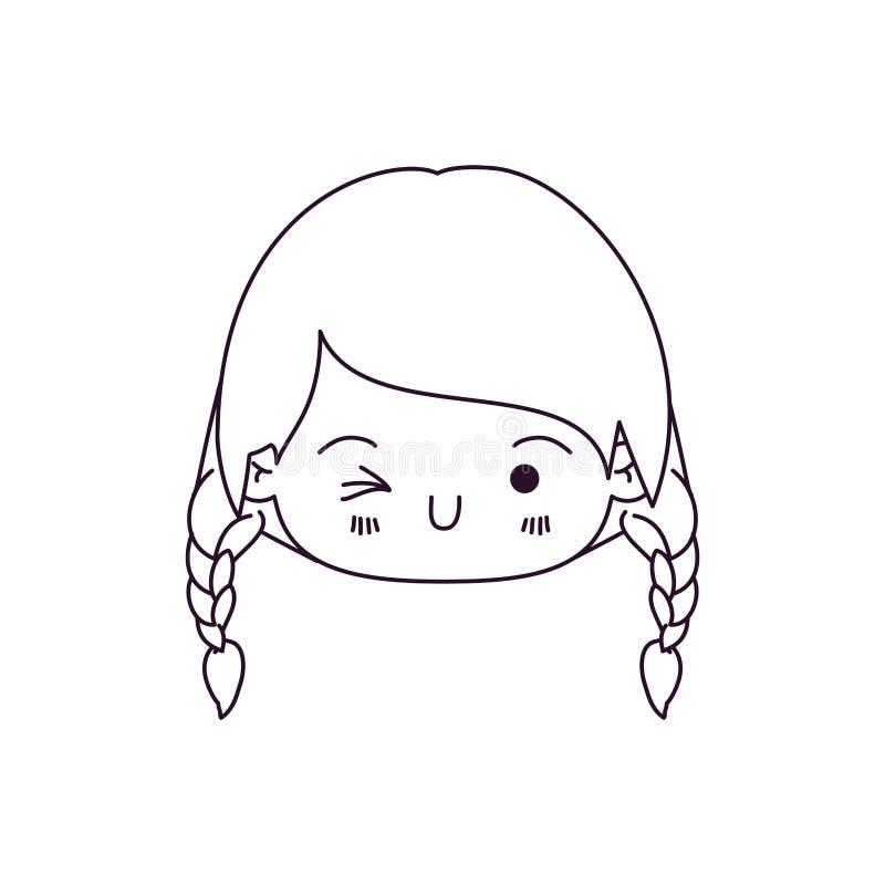 Het zwart-wit silhouet van kawaii hoofdmeisje met gevlecht haar en de gelaatsuitdrukking knipogen oog royalty-vrije illustratie