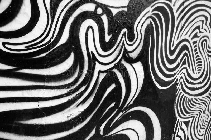 Het zwart-witte abstracte schilderen stock foto's