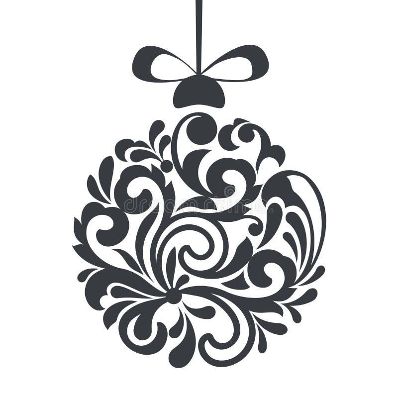 Het zwart-witte bloemenontwerp van de Kerstmisbal royalty-vrije illustratie