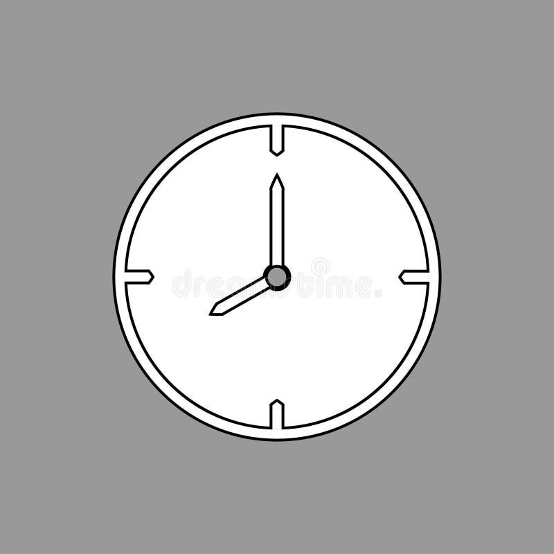 Het zwart-witte dunne pictogram van de lijnklok 8 uur op grijze achtergrond - vectorillustratie vector illustratie