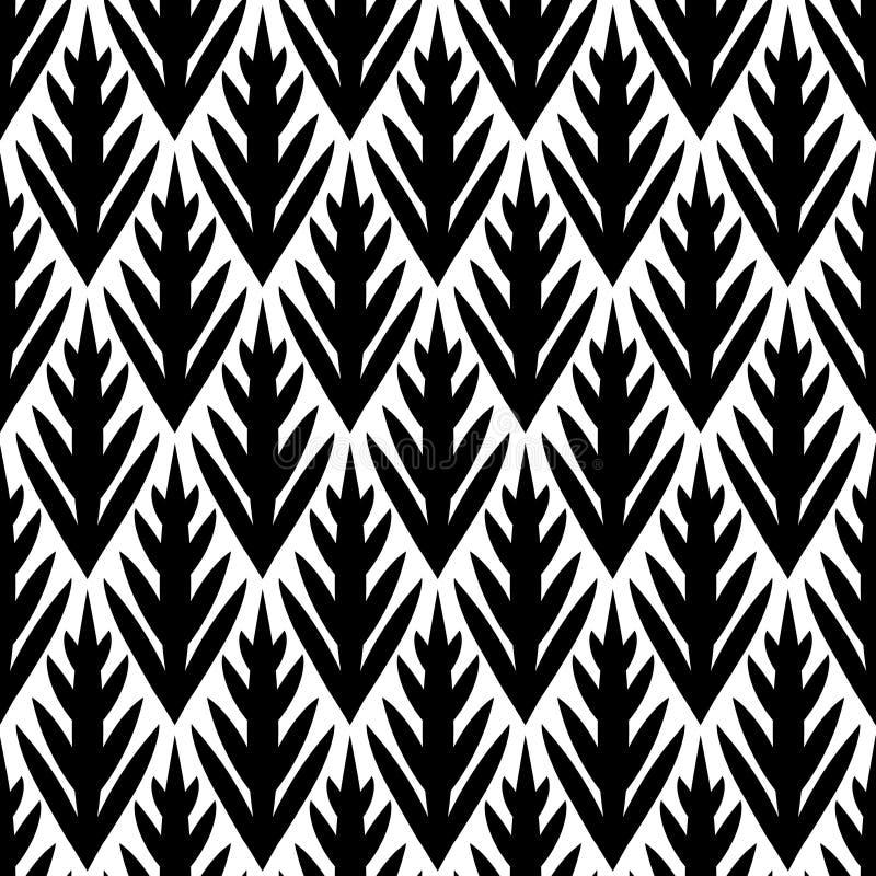 Het zwart-witte eenvoudige naadloze patroon van bomen geometrische ikat, vector stock illustratie