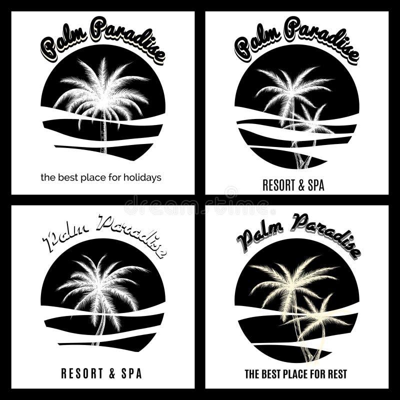 Het zwart-witte embleem van het palmparadijs stock illustratie